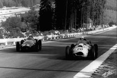 Oliver Gendebien (20) Ferrari D246 and Maurice Trintignant (28) Maserati 250 F at the 1958 Belgian GP.