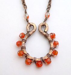 $7 Starting Bid: Copper Hoop Necklace with Czech Glass Beads