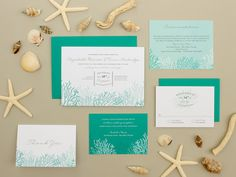 Destination Wedding Invitation Coral Reef por BanterandCharm