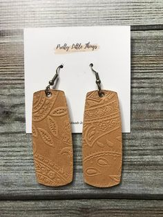 Pretty Little Things by Cassie Tan Embossed Leather Earrings Grace And Co, Leather Earrings, Contemporary Fashion, Little Things, Emboss, Cassie, Pretty Little, Tan Leather, Love Fashion