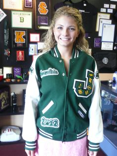 Beautiful green girls varsity jacket