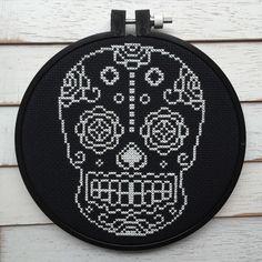 Sugar Skull Day of the Dead Skeleton White and Black Cross Stitch DIY KIT Intermediate
