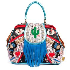 The rootingest, tootingest, cutest bag in the west!  Get off your horse and pick up this perfect western themed handbag, just perfect for an evening down at the saloon.  Resplendently decorated with applique revolvers, horseshoes, stars, and trimmed with faux rawhide.  A dinky cactus on the fastening with blue fringing gives you that full western look!  Adjustable and removable shoulder strap.  26 x 23 x 12 cm
