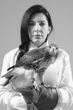 Marina Abramovic, an amazing artist. WITH A PEREGRINE FALCON.