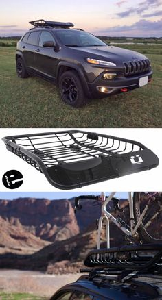 This stylish cargo basket lets you haul a full load of gear and 2 bikes on your Jeep Cherokee roof rack. The sturdy steel basket includes 2 built-in fork blocks for bikes, a custom fairing to reduce wind noise, and locking mounts to secure it to your crossbars.