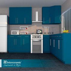 Un color poco utilizado en las #cocinas es el color #azul, sin embargo recomendamos esta propuesta de la línea Osaka e Interglass Pearl de #Interceramic que expresa comodidad, armonía y serenidad.
