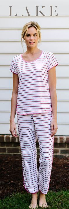 LAKE pima cotton pajamas. Short long set. Berry stripe.