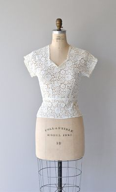 Calla lace blouse fitted lace 50s blouse vintage by DearGolden