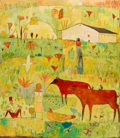 """Resting in the Pasture 48""""x42"""" Jane Filer"""