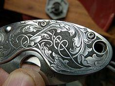 Picture Engraving, Glass Engraving, Metal Engraving, Gravure Metal, Engraved Knife, Bamboo Fly Rod, Edc, Wood Carving Patterns, Knife Art