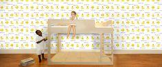 Quacking Ducks Wallpaper | Pop and Lolli - Re-usable, fabric, eco-friendly, non-toxic wallpaper