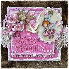 LOTV - Clear Fairies set with Butterfly Kisses papers and sentiment from Quotables - Celebrate by Fleur