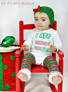 Need!  I Ate Santa's Cookies - Funny Christmas ONESIE - Toddler Tee also available. $18.00, via Etsy.