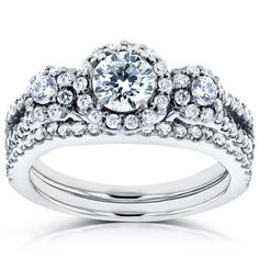 Annello by Kobelli 14k White Gold 1 1/5ct TDW Three Stone Diamond Bridal Set (H-I, I1-I2) (Size 9.5)