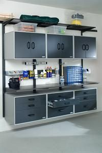 Organized Living's garage cabinets and garage shelving maximize your garage organization. We provide garage storage ideas & garage organization ideas. Garage Shed, Garage Tools, Garage House, Diy Garage, Garage Workshop, Garage Workbench, Garage Tool Organization, Workshop Organization, Garage Storage Systems