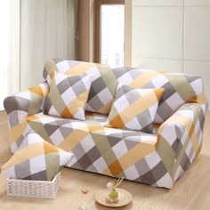 US 4559 LFH Print Solid Stretch Sectional Sofa Covers For Single