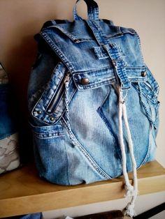 Rucksack bag from jeans material, unisex bag