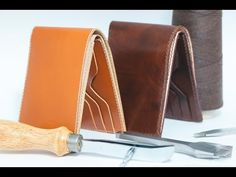 making men's half wallet, leather craft how to make wallet , bifold wallet - YouTube