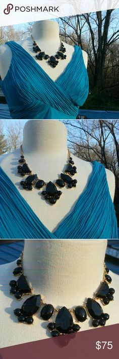 """Kate Spade statement necklace Kate Spade statement necklace with black stones. 20"""", can be worn as a choker or a little longer. NWOT. Never Worn. kate spade Jewelry Necklaces"""