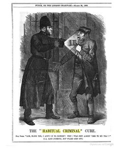 "The ""Habitual Criminal"" cure. From Punch or The London Charivari, 1869."