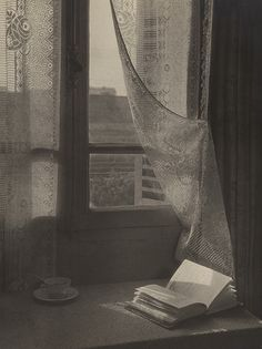 Window, Book and Cup of Tea, ca Unidentified Photographer. Vintage Photography, Art Photography, Through The Window, Photomontage, Black And White Photography, Aesthetic Pictures, Pencil Drawings, Light In The Dark, Book Art