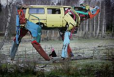 Incredible giant cows made from recycled car parts by Miina Äkkijyrkkä