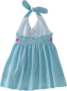 Bonnie Baby Girls' Seersucker Halter Dress with Bows, Turquoise, 12 Months Toddler Dress, Baby Dress, Baby Girl Fashion, Kids Fashion, Moda Kids, Baby Frocks Designs, Baby Girl Dress Patterns, Sewing Kids Clothes, Applique Dress