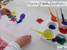 Painting with Feathers - F is for fish and feathers. Art activit inspired by the story Hooray for Fish by Lucy cousins