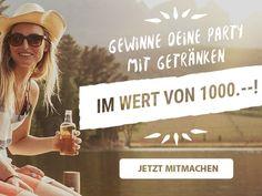 Gewinne mit beer4you eine Party mit Getränken im Wert von 1000.-!  Mach gratis mit und gewinne eine Party für dich und deine Freunde.  Gewinne hier: http://www.gratis-schweiz.ch/gewinne-eine-party-mit-getranken/  Alle Wettbewerbe: http://www.gratis-schweiz.ch/