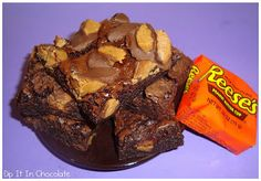 Reeses Peanut Butter Cup Brownies ~ Dip it in Chocolate