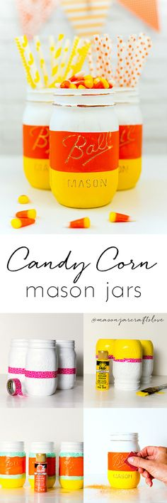 Mason Jar Crafts for Halloween - Candy Corn Mason Jars - Painted and Distressed Mason Jars - Halloween Crafts with Mason Jars