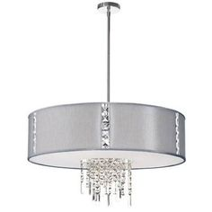 Dainolite Rita Four Light Pendant with Silk Glow Steel Drum Shade