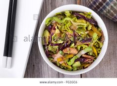Download this stock image: asian pork and cabbage healthy salad bowl closeup - FG1GC6 from Alamy's library of millions of high resolution stock photos, illustrations and vectors.
