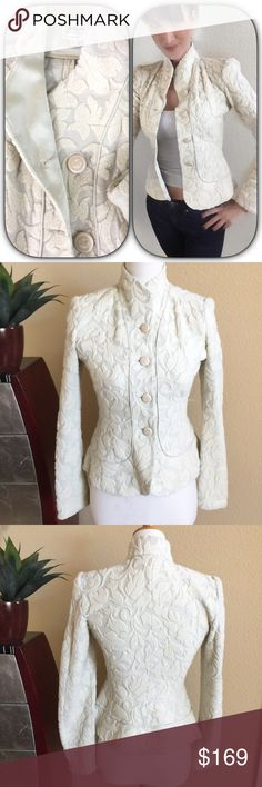 """Armani⚜️Stunning textured leaf scroll jacket Armani Stunning cream color textured leaf scroll jacket with oatmeal color background Button up front with GA engraved button detail. Gently loved with no stains or damage.  Light to medium weight.  Measures 25"""" long 17"""" across bust and 25.5"""" long sleeves Armani Collezioni Jackets & Coats"""