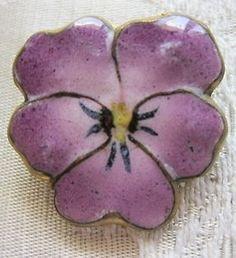 Adorable Antique C 1900 Enamel on Pressed Brass Purple Pansy Pin Brooch | eBay