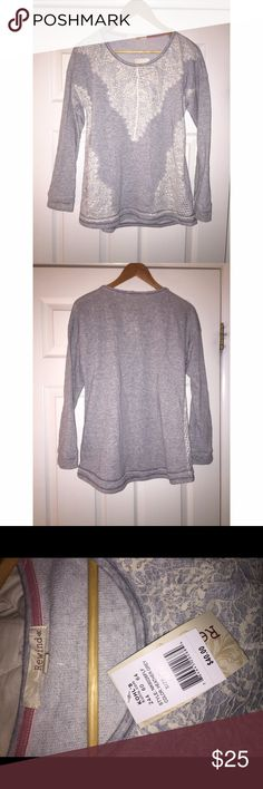 NWT✨ Heather Grey Sweater with White Lace Detail This sweater is NWT. Purchased from Kohl's about a month ago! Didn't like how it looked on me, however VERY warm & comfortable for the winter! Size is M. So cute! Rewind Tops