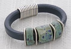 Blue Granite Regaliz™ Leather Bracelet @ antelopebeads.com