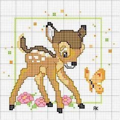 Free Bambi Cross Stitch Chart or Hama Perler Bead Pattern Disney Cross Stitch Patterns, Cross Stitch For Kids, Cross Stitch Baby, Cross Stitch Animals, Cross Stitch Charts, Cross Stitch Designs, Disney Stitch, Cross Stitching, Cross Stitch Embroidery
