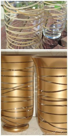Turn plain clear vases into gold designer vases with spray paint and rubber bands!