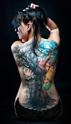 Tree tattoos top cool tree tattoo on back tattoo ranking den Latest Tattoos, Great Tattoos, Sexy Tattoos, Beautiful Tattoos, Body Art Tattoos, Tattoos For Women, 3d Tattoos, Unique Tattoos, Colorful Tattoos