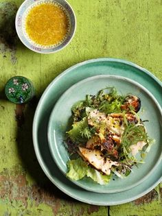 #JamieOliver: Japanese Grilled Salmon and Seaweed Salad #Recipe... The magic ingredient in this dish is togarashi seasoning, a mix of chilli, orange peel, ginger, sesame seeds, sichuan pepper and seaweed. It adds a 'wow' factor to salmon.