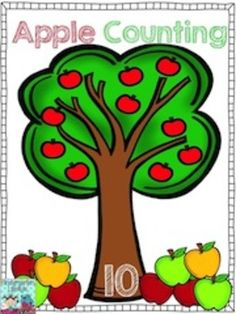 FREE Apple Tree Counting Mats, and apple counters in 3 different colors!  From Kindergarten Lifestyle