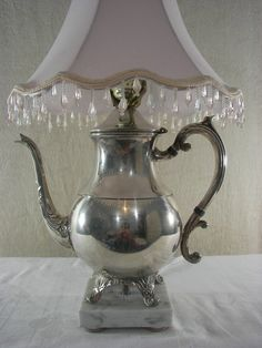 Vintage Silver Plated Teapot Lamp Repurposed by PinkPicketCottage