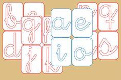 Tarjetas con Plantilla para Letras Cursiva Montessori Materials, Montessori Activities, Baby Learning, Help Teaching, Home Schooling, Airplane Kids, Pre School, Phonics, Alphabet