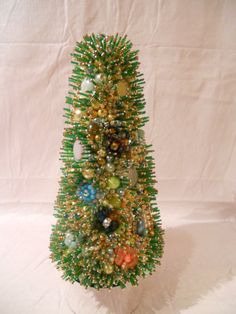 Green and Gold Tree with vintage jewels and beads.  by PHBeadworks, $780.00