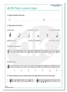 HUV-DK 001 Noty a notový zápis | datakabinet.cz Sheet Music, Education, School, Teaching Ideas, Teaching, Onderwijs, Music Sheets, Studying