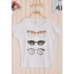 $4.25 Casual Loose Fitting Glasses Printed Scoop Neck Short Sleeve Cotton T-Shirt for Women