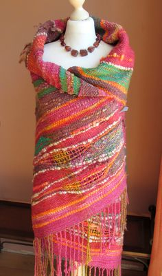 Handwoven Saori Wrap Shawl,Saori Large Wool Wrap,Poncho,Woven Art Yarn Wrap Shawl.Free Style Weaving,Outlander,Handspun Hand Woven,