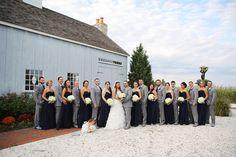 Long Navy Bill Levkoff Bridesmaid Dresses