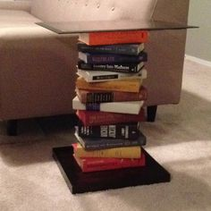 DIY End table with books! No link with this one but edit the other pin to have the books like this. Though I don't know if it'll be as sturdy